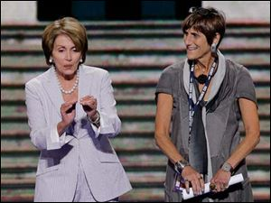 House Minority Leader Nancy Pelosi of California with Rep. Rosa Delauro of Connecticut, right, during a sound check.