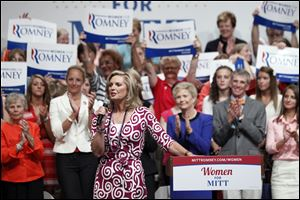 Ann Romney speaks during a Women for Mitt rally at the Winebrenner Auditorium at the University of Findlay in Findlay, Wednesday.