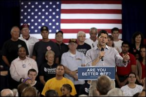 Congressman Paul Ryan, the vice-presidential nominee, presses the attack on President Obama during a campaign event Tuesday in Westlake, Ohio, a GOP enclave in heavily Democratic Cuyahoga County.