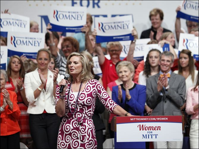 Ann Romney speaks during a Women for Mitt Ann Romney speaks during a Women for Mitt rally at the Winebrenner Auditorium at the University of Findlay in Findlay, Wednesday.