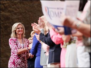 Ann Romney greets supporters during a Women for Mitt rally at the Winebrenner Auditorium at the University of Findlay in Findlay, Wednesday, September 5, 2012.