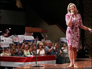 Ann Romney is introduced during a Women for Mitt rally at the Winebrenner Auditorium at the University of Findlay in Findlay, Wednesday, September 5, 2012.