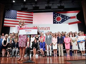 Ann Romney speaks during a Women for Mitt rally at the Winebrenner Auditorium at the University of Findlay in Findlay, Wednesday, September 5, 2012. The Blade/Andy Morrison