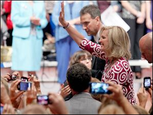 Ann Romney waves to supporters after speaking at a Women for Mitt rally at the Winebrenner Auditorium at the University of Findlay in Findlay, Wednesday, September 5, 2012.