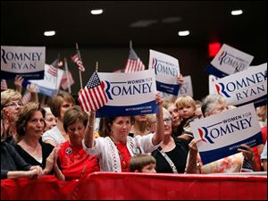 Supporters listen as Ann Romney speaks during a Women for Mitt rally at the Winebrenner Auditorium at the University of Findlay in Findlay, Wednesday, September 5, 2012.