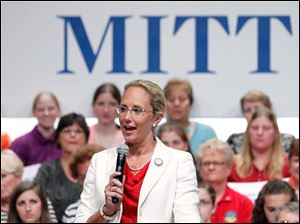 Findlay Mayor Lydia Mihalik speaks during a Women for Mitt rally at the Winebrenner Auditorium at the University of Findlay in Findlay, Wednesday, September 5, 2012.