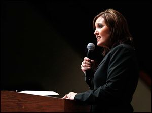 Ohio Lt. Governor Mary Taylor speaks during a Women for Mitt rally at the Winebrenner Auditorium at the University of Findlay in Findlay, Wednesday, September 5, 2012.