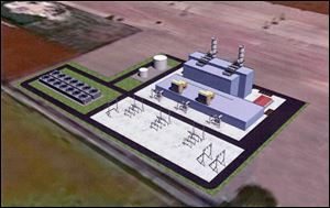 Artists rendering of the Oregon Clean Energy Center, Lucas County, Ohio.