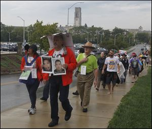Caravan for Peace, a march against violence and drugs in Mexico, walks on the University of Toledo campus.