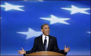 President Barack Obama addresses the Democratic National Convention in Charlotte, N.C.