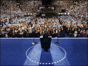 President Barack Obama speaks to delegates at the Democratic National Convention.
