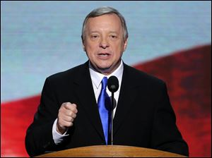 Sen. Dick Durbin of Illinois addresses the Democratic National Convention.