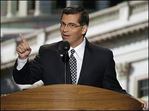 Rep. Xavier Becerra of California addresses the Democratic National Convention.