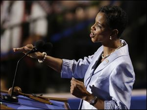 Rep. Donna Edwards of Maryland speaks to delegates.