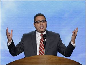Rev. Gabriel Salguero, president of the National Latino Evangelical Coalition, delivers the invocation during the Democratic National Convention.