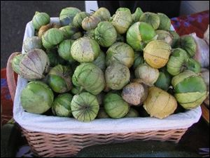 Tomatillos are green, rounded, tomato-like fruit enclosed in thin, papery husks.