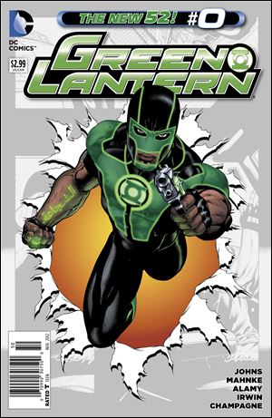 The November 2012 cover of the latest Green Lantern series features the character Simon Baz, DC Comics most prominent Arab-American superhero and the first to wear a Green Lantern ring.