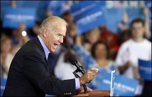 Vice President Joe Biden speaks  at Milford High School Sunday in Milford, Ohio.