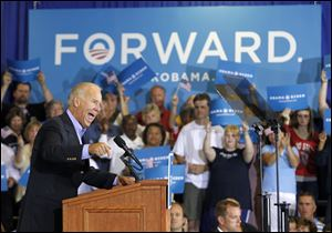 Vice President Joe Biden speaks Sunday at Milford High School in Milford, Ohio.