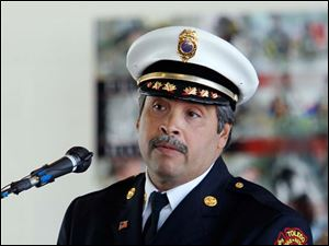 Chief Luis Santiago of the Toledo Fire and Rescue Department speaks during a 9/11 Commemoration Ceremony and Dedication of Fire Station 6 at 1155 Oak Street, Tuesday, September 11, 2012.