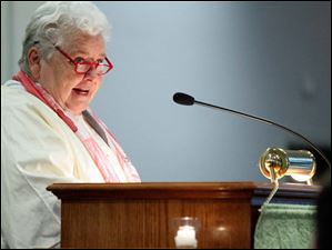 Rev. Dagmar Celeste speaks during the ordination of Beverly Bingle at the First Unitarian Church.