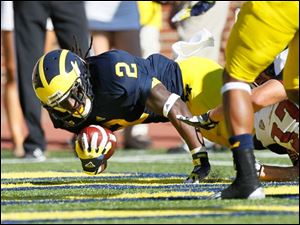 University of Michigan player Vincent Smith, 2, dives into the end zone for a second quarter touchdown against the University of Massachusetts at Michigan Stadium in Ann Arbor.