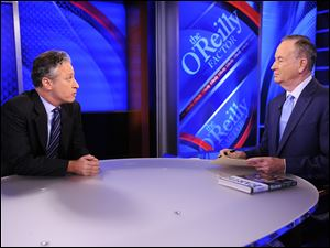 "Comedy Central's Jon Stewart from ""The Daily Show with Jon Stewart,"" left, and and political pundit Bill O'Reilly chat during an interview for ""The O'Reilly Factor"" on FOX News Channel in Sept., 2010."