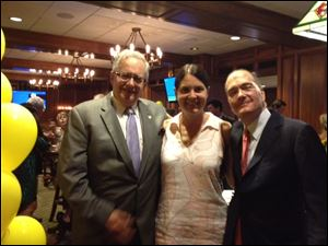 Joseph H. Zerbey IV, left, president and general manager of The Blade, celebrates his 70th birthday at the Toledo Club with Susan and Allan Block, chairman of Block Communications, Inc., parent company of The Blade.