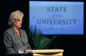 Bowling Green State University President Mary Ellen Mazey  delivers her annual State of the University address Wednesday in the Donnell Theatre of the Wolfe Center in Bowling Green.