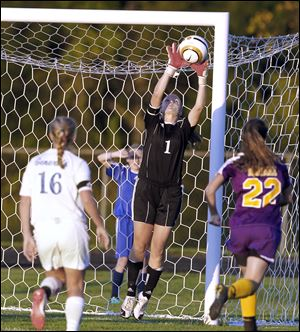 Anthony Wayne goalie Taylor Hill blocks a shot against Maumee on Wednesday, Sept. 19, in Whitehouse. The goalies shined for both teams as the game ended in a 0-0 tie.