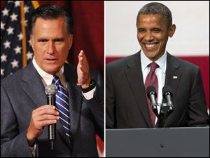 In Ohio, President Obama, right, leads Mitt Romney, left, in The Blade/Ohio Newspaper Poll 51 percent to 46 percent.