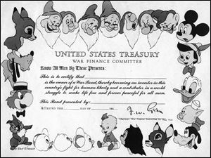 Disney cartoon characters decorate a paper war bond from the 1940s. The Treasury Department no longer issues paper certificates.