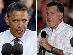 President Barack Obama, left, and GOP candidate Mitt Romney.