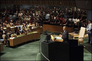 President Barack Obama addresses the 67th session of the United Nations General Assembly at U.N. headquarters Tuesday.