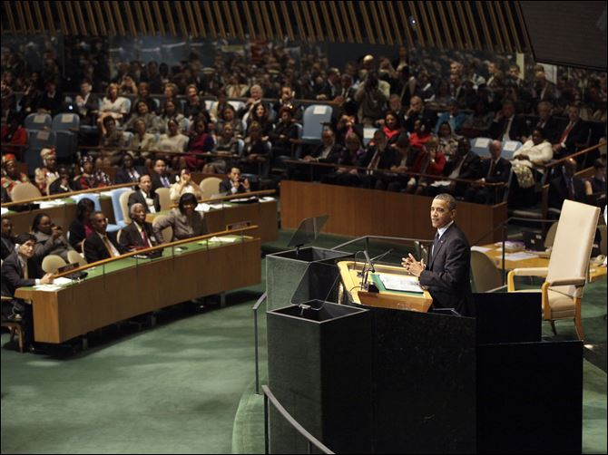 Obama UN President Barack Obama addresses the 67th session of the United Nations General Assembly at U.N. headquarters Tuesday.