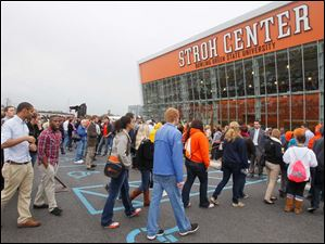 The line of supporters moved closer to the new arena on the BGSU campus.