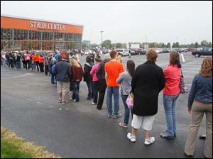 People line up to see President Barack Obama at the Bowling Green State University Stroh Center Wednesday.