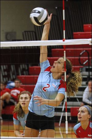 Team captain Allison Sutton, a senior, leads the team's attack with 125 kills on the year.