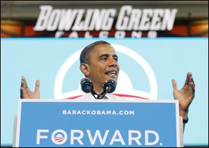 President Obama campaigns at the Bowling Green State University Stroh Center.