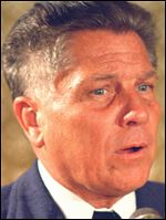 Teamsters president Jimmy Hoffa is shown June 3, 1974 in Washington. The FBI on Wednesday May 17, 2006 searched property northwest of Detroit for clues to the disappearance of Hoffa, officials said. The Teamsters leader was last seen in July 1975 at a restaurant in Oakland County's Bloomfield Township.