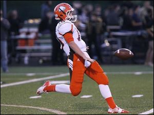 Southview junior Griffin McDonald punts the ball.