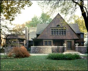 Frank Lloyd Wright Preservation Trust shows the exterior of the home side of the Frank Lloyd Wright Home and Studio in Oak Park, Ill., which was built in 1889 as Wright's family home and went through several renovations through 1898. This is where the famous architect developed Prairie style architecture. The home side of the building provided access to the family home.