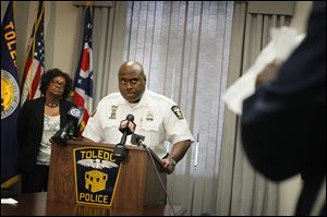Toledo Police Chief Derrick Diggs speaks with reporters Friday afternoon about a fatal shooting incident that occurred between police and a robbery suspect early Friday morning.