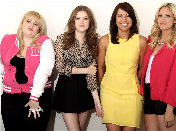 "From left, actress Rebel Wilson, actress Anna Kendrick, screenwriter Kay Cannon, and actress Brittany Snow, from the film ""Pitch Perfect."""