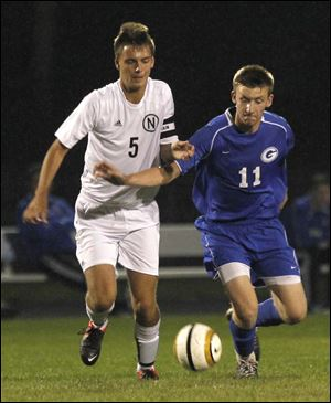 Northview's Cameron Kupetz, left, and Anthony Wayne's Ben Conklin chase the ball during a game earlier this year in Sylvania.