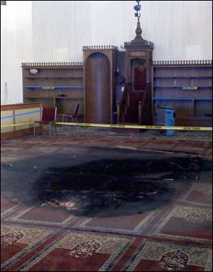 Fire damage inside the prayer room of the Islamic Center of Greater Toledo.