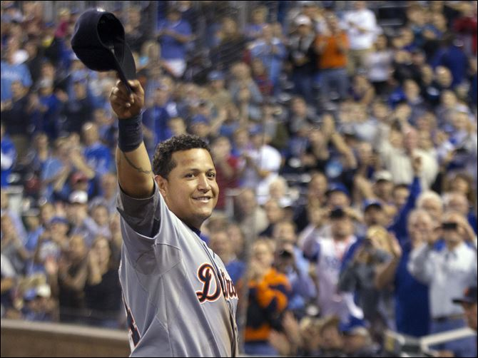Miguel Cabrera waves to the crowd after being replaced during the fourth inning Wednesday at Kauffman Stadium in Kansas City, Mo.