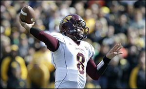 Central Michigan quarterback Ryan Radcliff throws a pass earlier this year.