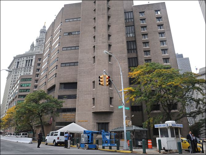 The three terrorism suspects, Abu Hamza al-Masri, Khaled al-Fawwaz, and Adel Abdul Bary are being held at Metropolitan Correctional Center in New York, seen here on Saturday.