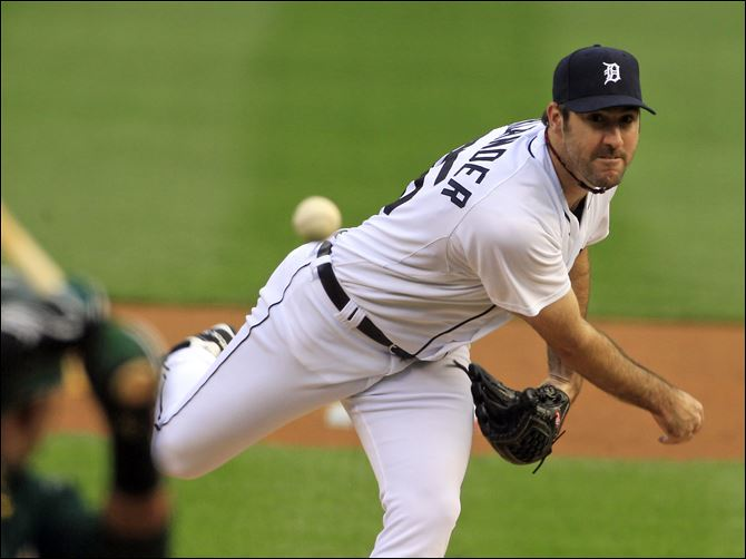 Detroit Tigers starting pitcher Justin Verlander gave up a first inning home run and got stronger as the game went on.